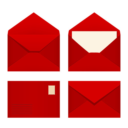 Vector set of four red envelopes. 일러스트
