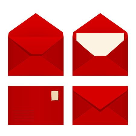 envelopes: Vector set of four red envelopes. Illustration