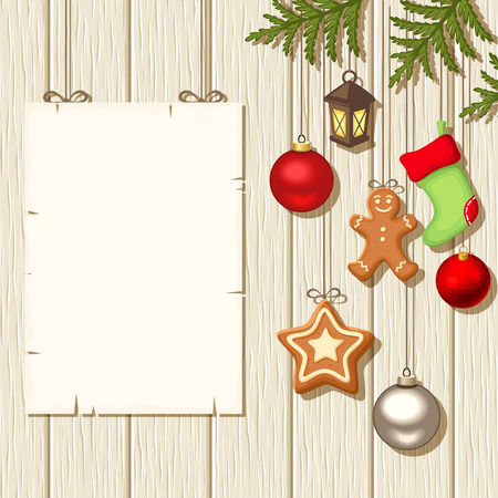 firtree: Vector Christmas hanging balls, socks, gingerbread cookies, fir-tree branches and an blank placard on a beige wooden background. Illustration