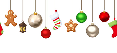 white socks: Vector horizontal seamless background with hanging Christmas balls, socks and gingerbread cookies on a white wooden background.