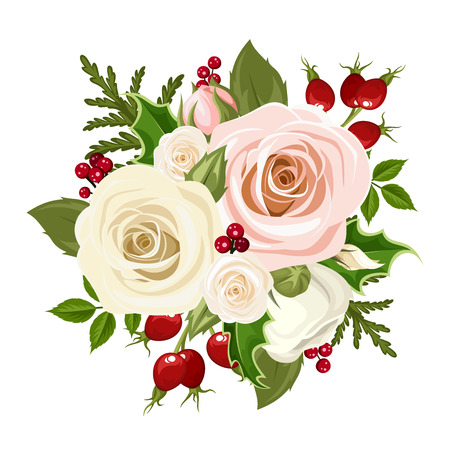Vector Christmas bouquet with pink and white roses, rosehip berries, holly and fir branches isolated on a white background.