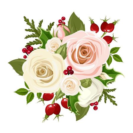 Vector el ramo de Navidad con rosas de color rosa y blanco, bayas de rosa mosqueta, el acebo y ramas de abeto aislado en un fondo blanco.