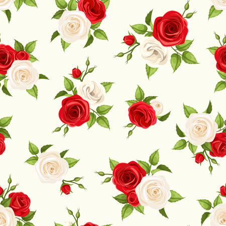 rosebud: Vector seamless pattern with red and white roses and lisianthus flowers and green leaves on a white background. Illustration