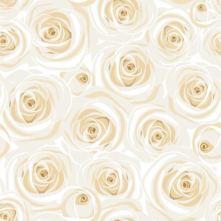 luxo: Seamless com rosas brancas. ilustração do vetor.