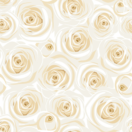 Seamless pattern with white roses. Vector illustration.
