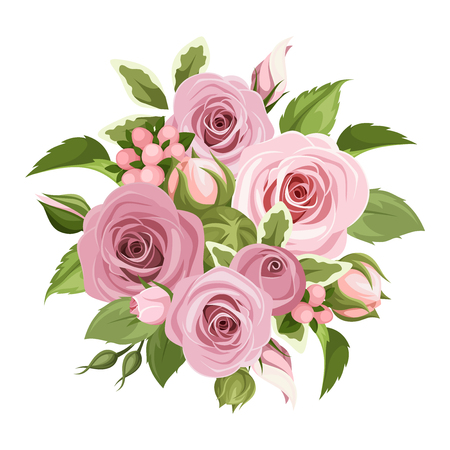 Vector bouquet of pink roses, buds and green leaves isolated on a white background.