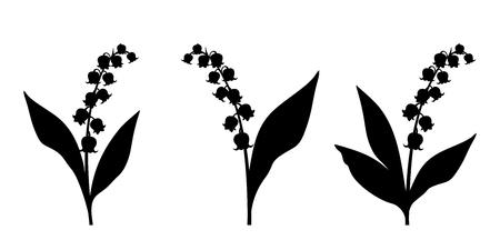 Un insieme di tre vettore sagome nere di giglio della valle di fiori su uno sfondo bianco. Vettoriali