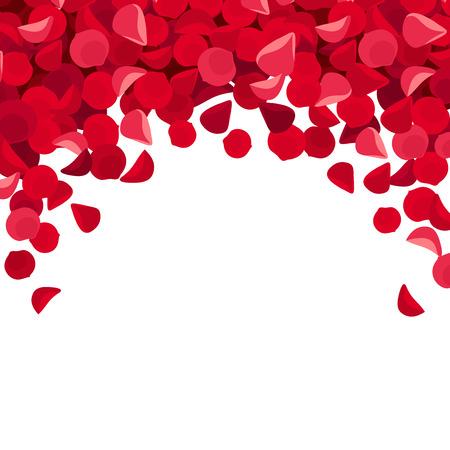 Background with red rose petals. Vector illustration. Illustration