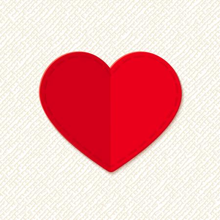 sacking: Red valentine heart. Vector card. Illustration