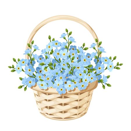 青いワスレナグサの花を持つベクトル ベージュ籐バスケット。