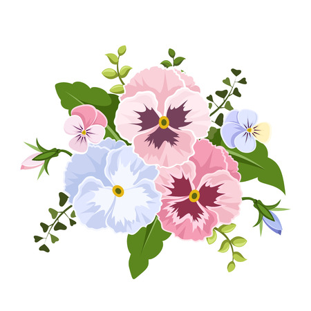 bouquet: Vector pink and blue pansy flowers isolated on a white background. Illustration