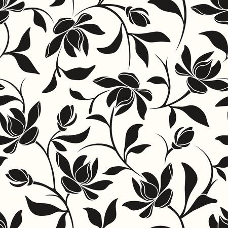 ベクトル シームレスな黒と白花柄モクレンの花と葉。