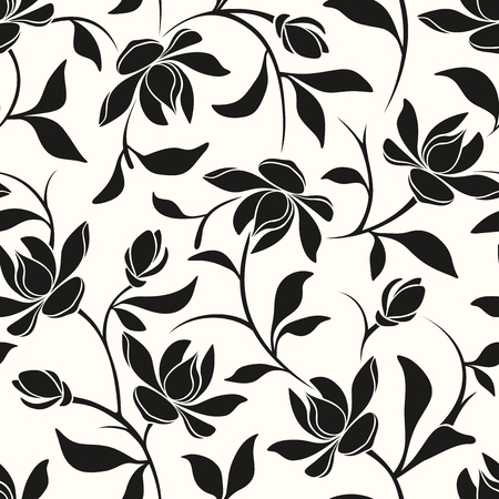 Vector seamless black and white floral pattern with magnolia flowers and leaves.