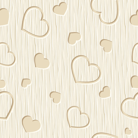 carved: Valentines day vector seamless pattern with hearts carved on a beige wooden background.