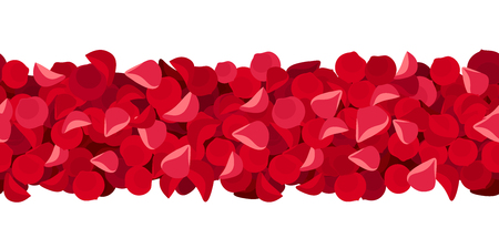 Vector horizontal seamless background with red rose petals.