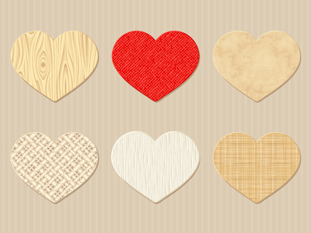 woven label: Vector textured Valentine paper, rag and wooden hearts.