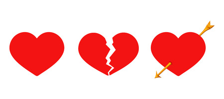 Vector set of three red Valentines hearts solid, cracked and arrow piercing isolated on a white background.