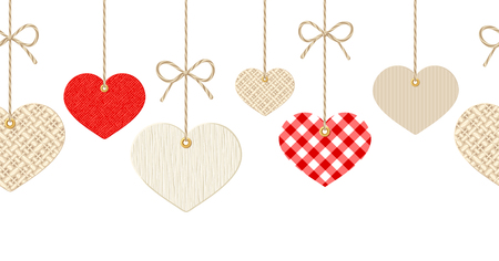 woven label: Vector Valentines horizontal seamless background with hanging textured paper, rag and wooden hearts on white.