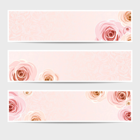 rosebud: Set of three vector web banners with roses.