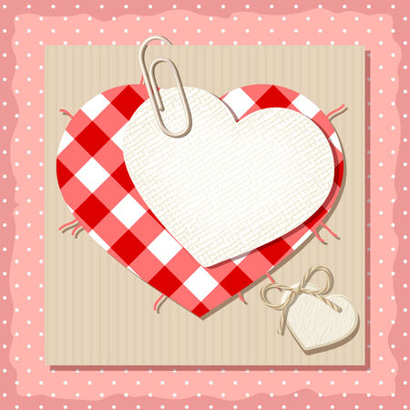 polka dot fabric: Vector Valentine card with fabric hearts and cardboard on a pink polka dot background. Illustration