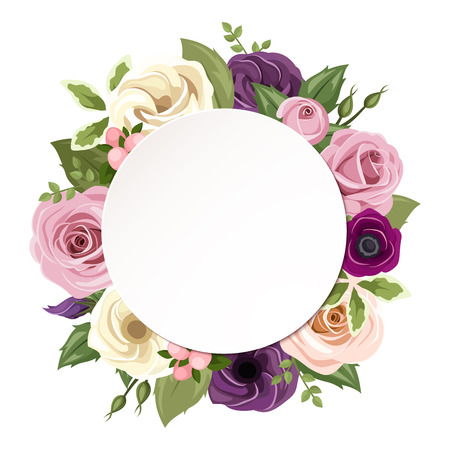 arrangement: Vector circle background with pink, purple, orange and white roses, lisianthus and anemone flowers and green leaves.