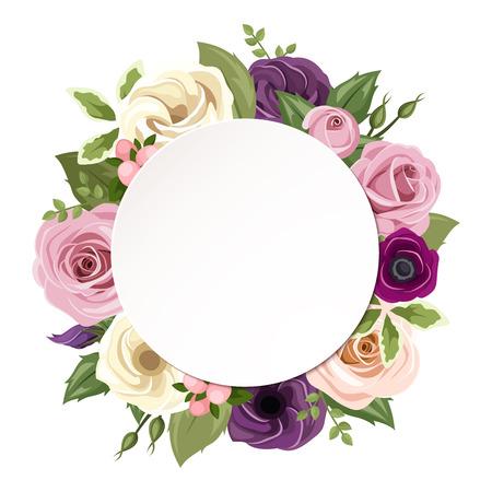 Vector cirkel achtergrond met roze, paars, oranje en witte rozen, lisianthus en anemoon bloemen en groene bladeren.
