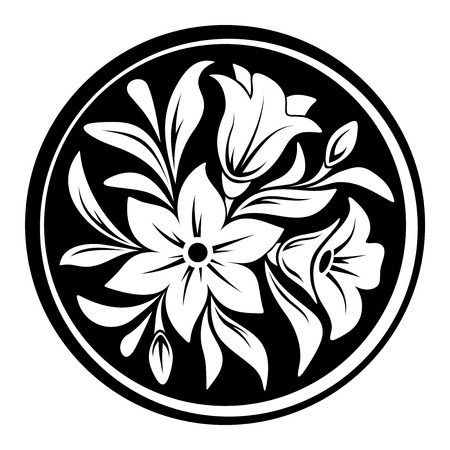 Vector white ornament with flowers and leaves on a black circle background.