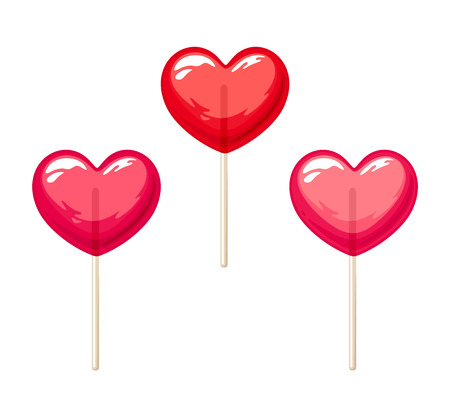 Vector set of three red and pink Valentines heart lollipops isolated on a white background.
