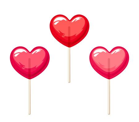 paleta de caramelo: Vector conjunto de tres piruletas de coraz�n rojo y rosa de San Valent�n aislados en un fondo blanco.