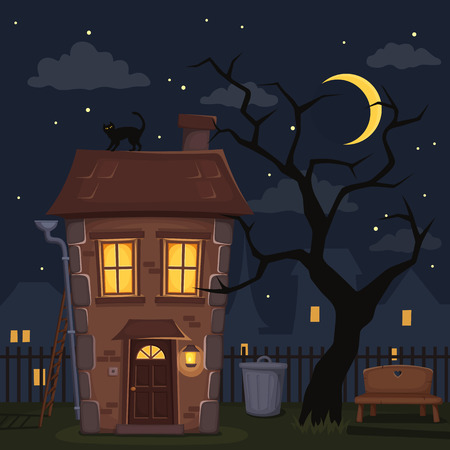 kitty cat: Night city landscape with house with lighted windows, tree and sky with moon and stars. Vector illustration.