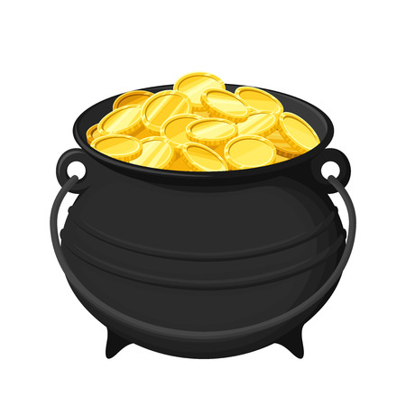 Vector black pot of gold coins isolated on a white background. Vettoriali