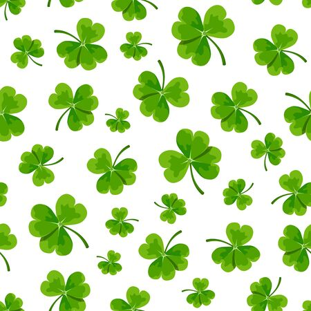 patrick backdrop: Vector seamless pattern with green shamrock leaves on a white background.