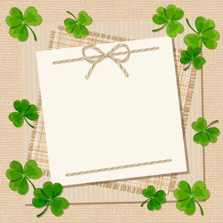 erin: Vector St. Patricks day card with shamrock on a beige sacking background. Illustration