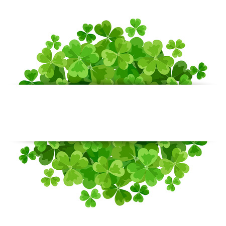 on a white background: St. Patricks day vector background with green shamrock.
