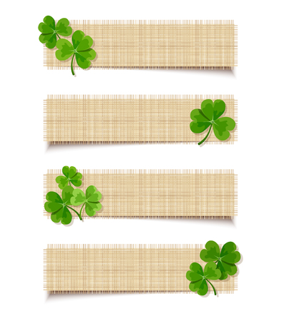 Vector St. Patrick's day sacking web banners with shamrock leaves. Vector Illustration