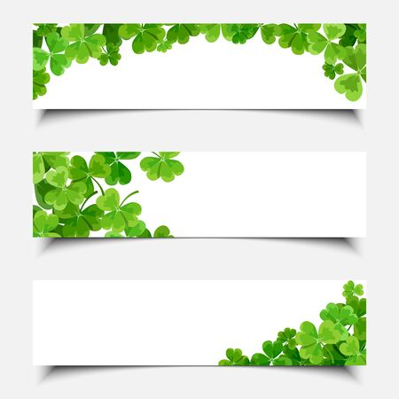 Vector St. Patricks day white web banners with shamrock leaves.