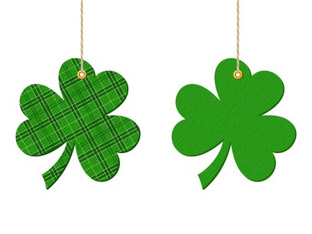 cloverleaf: Vector green hanging clovers shamrock isolated on a white background.