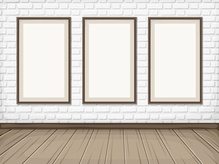 show room: Vector show room with white brick wall, wooden floor and blank picture frames.