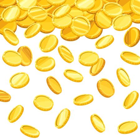 Vector achtergrond met vallende gouden munten. Stock Illustratie