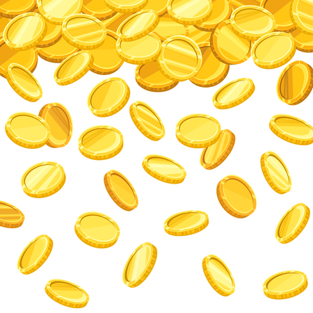 currency: Vector background with falling golden coins.