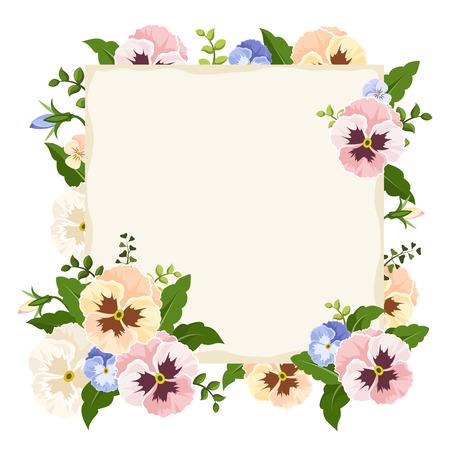 Vector scheda in bianco con fiori viola del pensiero colorati.