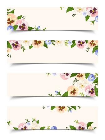 Set di quattro striscioni vettore web con fiori viola del pensiero colorati.