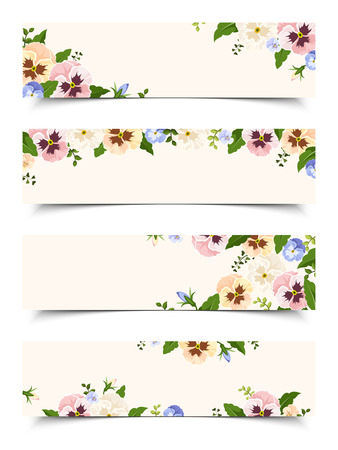 pansies: Set of four vector web banners with colorful pansy flowers.
