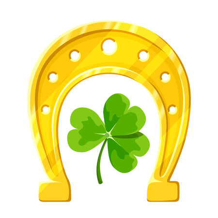 Vector gold horseshoe and green clover leaf isolated on a white background. Illustration