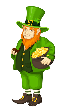 red haired: Vector Irish leprechaun in green suit with a pot of gold and a pipe isolated on a white background. Illustration
