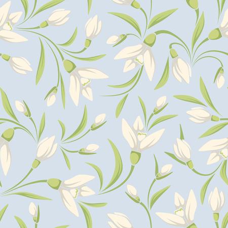 Vector naadloze patroon met witte sneeuwklokje bloemen en groene bladeren op een blauwe achtergrond.