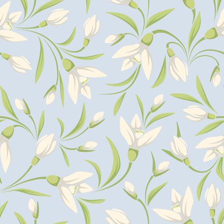the petal: Vector seamless pattern with white snowdrop flowers and green leaves on a blue background. Illustration