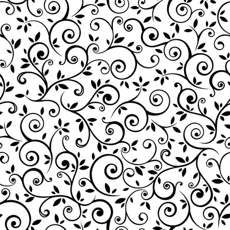 Vintage seamless black and white floral pattern. Vector illustration.
