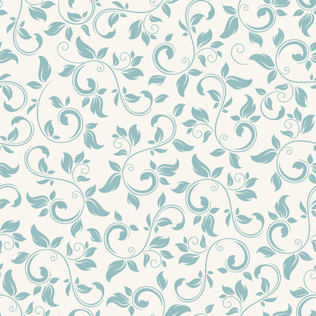 Vector vintage seamless blue floral pattern on white.