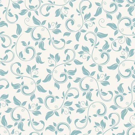 Vector vintage sin fisuras patrón floral azul sobre fondo blanco.